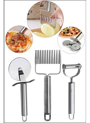 Kitchen Love Çelik Saplı Hamur Kesici+Pizza Kesici+Julyen Soyacak-3Prç Set Renkli